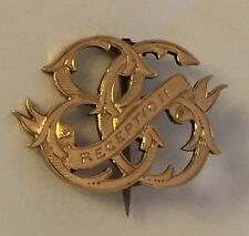 ANTIQUE GEORGIAN 14k SOLID YELLOW GOLD  BROOCH PIN OLD C CLASP RECEPTION