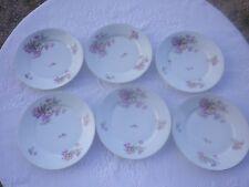 6 Assiettes plates anciennes  en porcelaine charmant décor floral 19 ème (1 )
