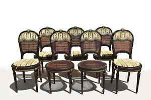 SET OF EIGHT FRENCH ANTIQUE  LOUIS XVI STYLE CANED MAHOGANY DINING CHAIRS