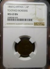 1860 Great Britain Farthing NGC MS63 Brown