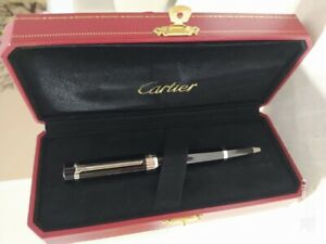 Authentic Cartier Ballpoint Pen Pasha Black Platinum Finish with Case like NEW