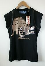Brand New Womens Replay Black & Gold Graphic Logo T-shirt | Size Small