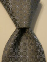 TUMI Men's 100% Silk Necktie ITALY Luxury Designer Geometric Gray/Blue EUC Rare