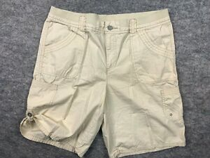 NWOT White Stag 14 Womens Shorts Cargo Zip Elastic Waist Cream Cotton Pockets
