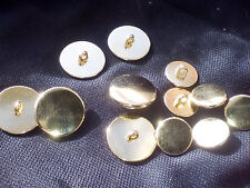 Metal blazer buttons gold or nickel silver, 6 small + 6 large