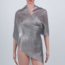 Women's Glitter Fishnet Sheer Fringe Scarf Shawl Wrap Party Wedding Shimmer