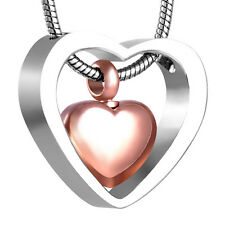 Double Heart Stainless Steel Cremation Pendant Necklace Ashes Keepsake Urn