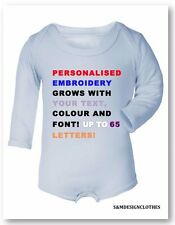Personalized Your Text Baby Grow,Outfit,Sleepsuit,Birthday Gift for New Baby