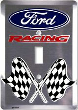 Ford Racing Checkered Flags Aluminum Novelty Single Light Switch Cover