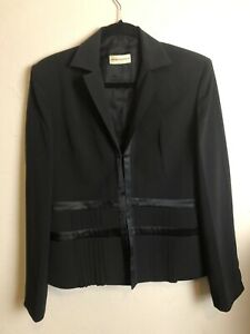 *DFSS* Emporio Armani Size 44 Satin Trim Pleat Detail Black Jacket Designer