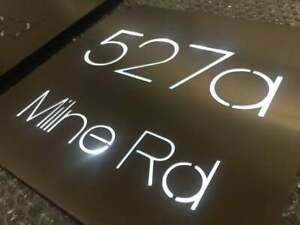 "Stainless Steel LED Illuminated House Sign Plaque Laser Cut 12"" x 12"""