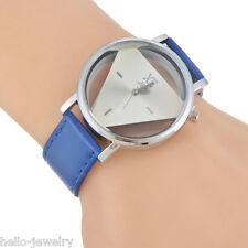 1 Damen Uhr Armbanduhr Quarzuhr Analoguhr Dreieck Geschenk Blau Mode