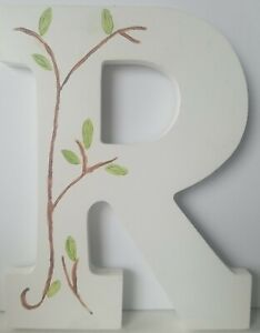 """Letter R Decor White With Vine 9"""" Tall X 6"""" Wide X 1/2"""" Thick"""