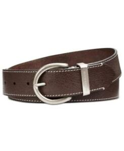 MSRP $58 Calvin Klein Flat-Strap Leather Belt with Stitching Brown Size Large