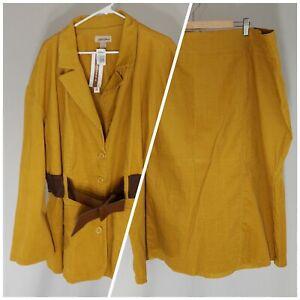 Gold Flava 5X Skirt 6X Jacket Corduroy Set Women Mustard Belt Long Sleeve Button