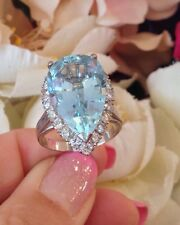 Vintage Pear shaped Aquamarine & Diamond Ring in 18k White Gold - HM1166