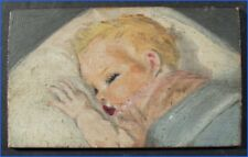 MINIATURE OIL PAINTING ON BOARD, SLEEPING BABY (GERBER STYLE), SIGNED M. RUSSO