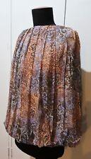 Size 1 Morrissey Blue & Brown Crepe Silk Skirt- Minor Flaw