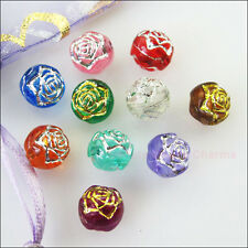 60Pcs Mixed Acrylic Plastic Round Ball Rose Flower Spacer Beads Charms DIY 8mm