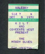 1970 Moody Blues Trapeze concert ticket stub Houston TX A Question Of Balance