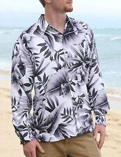 Hibiscus Tropical Long Sleeve Hawaiian Shirt Rayon Poplin/NWT