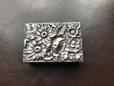 S Kirk & Son Ornate Floral Repousse Sterling Silver Matchbook Case Cover