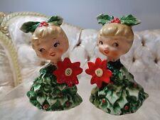 Vintage Holt Howard Christmas 'Hollly Girls' Salt and Pepper shakers #6216