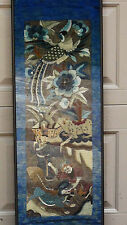 ANTIQUE 19c CHINESE GOLD THREAD SILK EMBROIDERY POLYCHROME FIGURES PANEL ,FRAMED