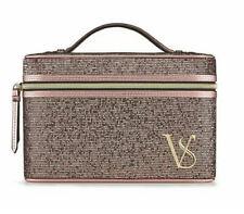 Nib-Victoria's Secret Train Case Makeup Cosmetic Bag Pink Glitter -fast Ship