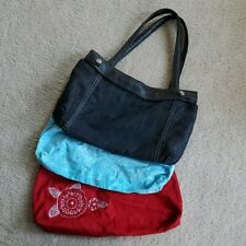 Thirty-One SKIRT PURSE lot Red w/Embroidered White Roses Denim turquoise flowers