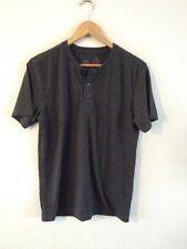 BHS Trait Cotton Mix T Shirt Size S Dark Grey Button Neckline <R10853