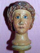 ECEPTIONEL Marionnette c1880 GRANDE TETE  bois scultpee s.tige BOIS HANDpuppet 4