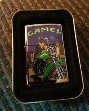 Zippo Lighter. Joe Camel on green motorcycle New Unused
