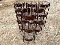 """Set of 6 Bronze 15"""" Round 3-Tier Produce Dump Bins Orchard Display Fixtures"""