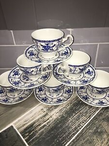 VINTAGE BLUE WHITE INDIES JOHNSON BROTHERS CUP & AND SAUCER EXCELLENT CONDITION