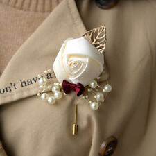 5pcs Wedding Silk Rose Flower Boutonniere Bride Bridegroom Best Man Brooch