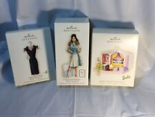2007 Hallmark Barbie Ornaments Lot 3 LBD Continental Family  Deluxe House MIB