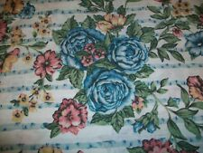 FULL DOUBLE FLAT BED SHEET FLOWERS BLUE RED MID CENTURY RETRO THOMASTON