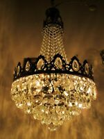 Antique French HUGE Basket Crystal Chandelier Lamp Lustre Luster1940's 16in Ø*,-