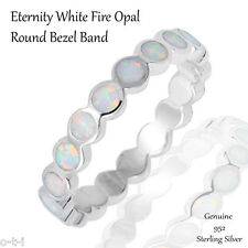 White Fire Opal Eternity Sterling Silver Ring Size 4 - 10