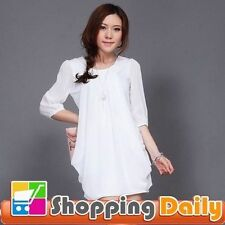 Chiffon Solid Shirt Dresses