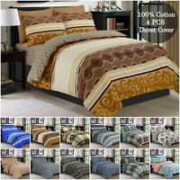 100% Cotton Print Duvet Cover Flannelette Bedding Sets Single Double King Size