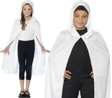 Halloween Childrens Fancy Dress Hooded Cape White Kids Unisex Cloak by Smiffys