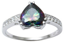 925 Solid Silver Mystic Topaz Stone Ring Charming Band Jewelry-IJVL-SJR1878