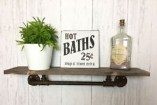 Urban Industrial Pipe Style Wall Shelf Wooden Unit Vintage Warehouse Bathroom