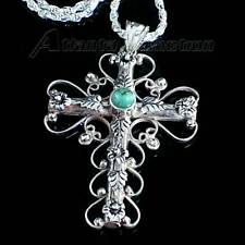 *FLORAL LEAF CROSS*_TURQUOISE PENDANT__925 STERLING SILVER