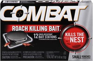 Combat Roach Killing Bait Stations for Small Roaches, 12 Count Child-Resistant