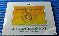 1986 Australia International Year of Peace Uncirculated Coin Collection