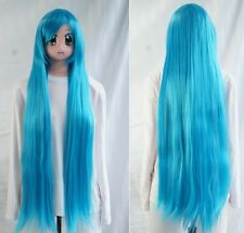 Y-10-4535 Bleu Blue 100cm cosplay perruque wig Hitzefest perruque Anime lisse