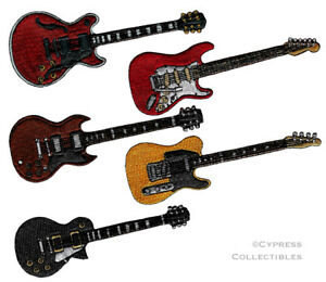 LOT of FIVE (5) ELECTRIC GUITAR IRON-ON PATCHES embroidered AMAZING DETAIL new